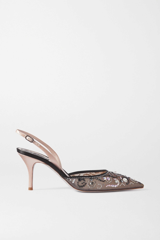 René Caovilla Veneziana crystal-embellished satin and mesh slingback pumps