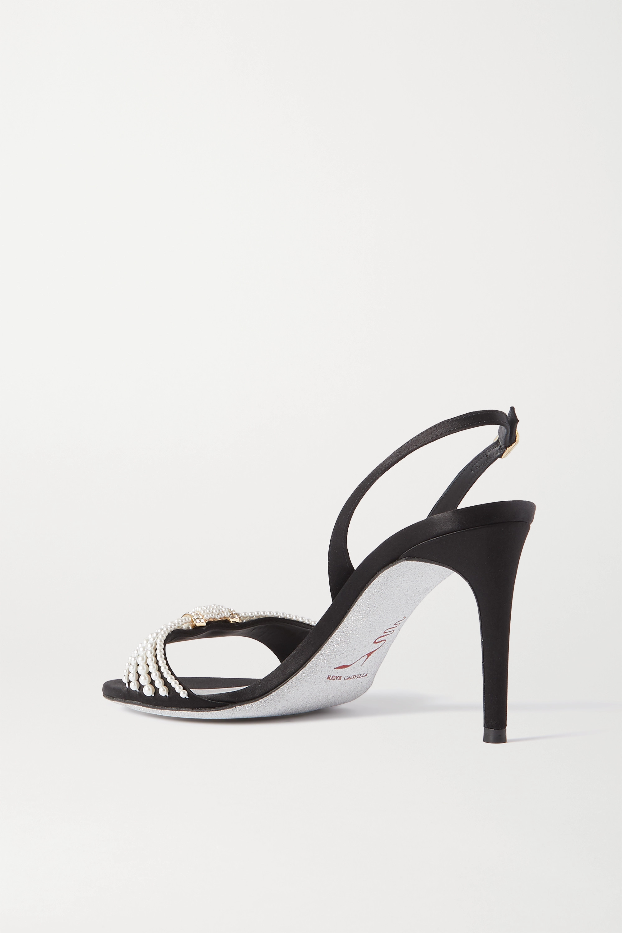 René Caovilla Faux pearl and crystal-embellished satin slingback sandals