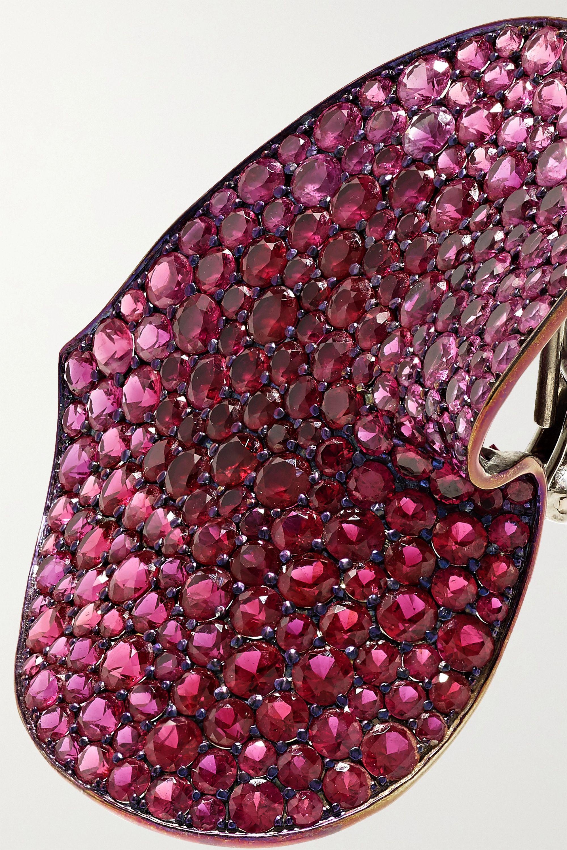 G by Glenn Spiro Wavy Heart titanium multi-stone earrings
