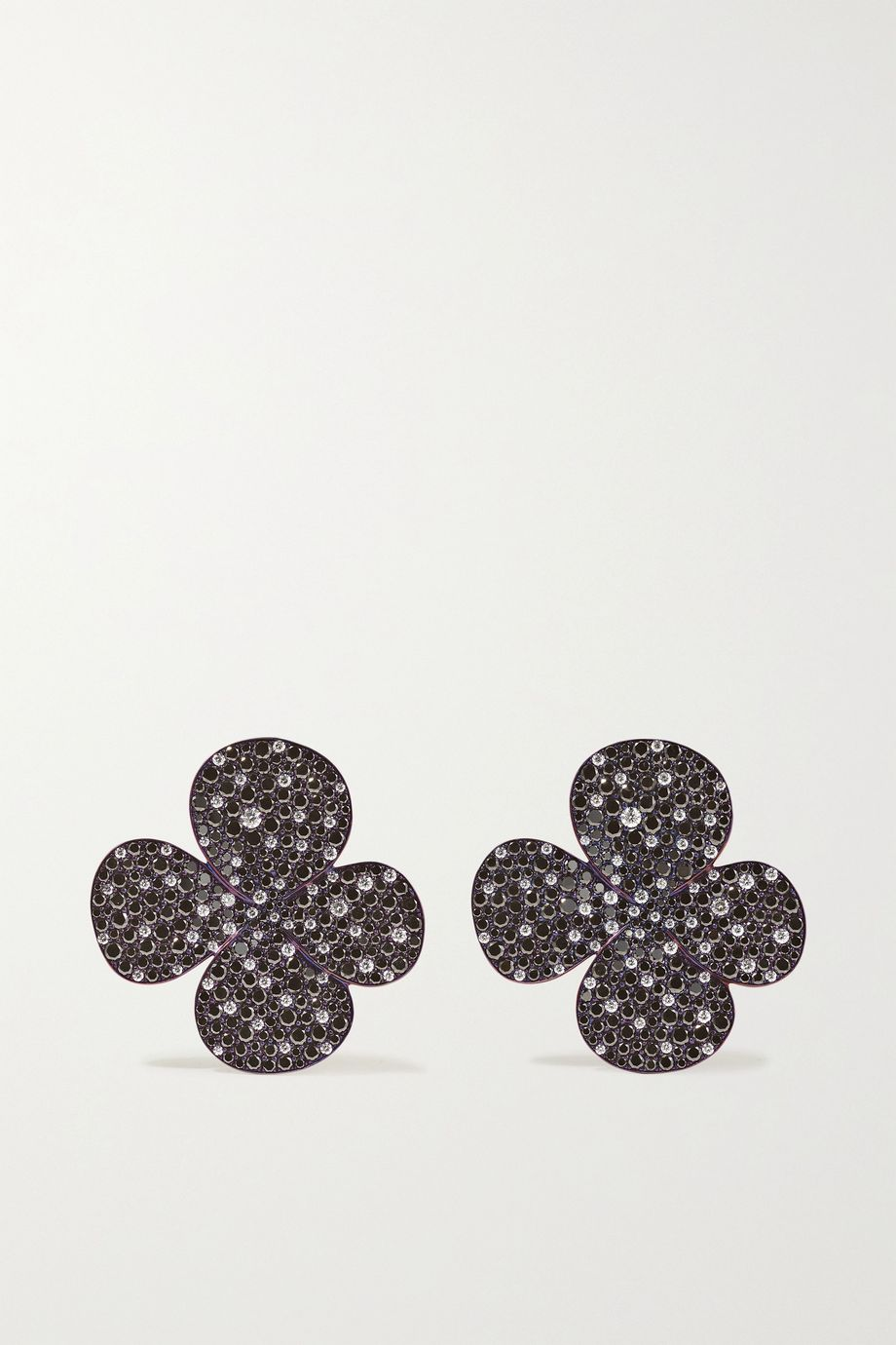 G by Glenn Spiro Clover titanium diamond earrings