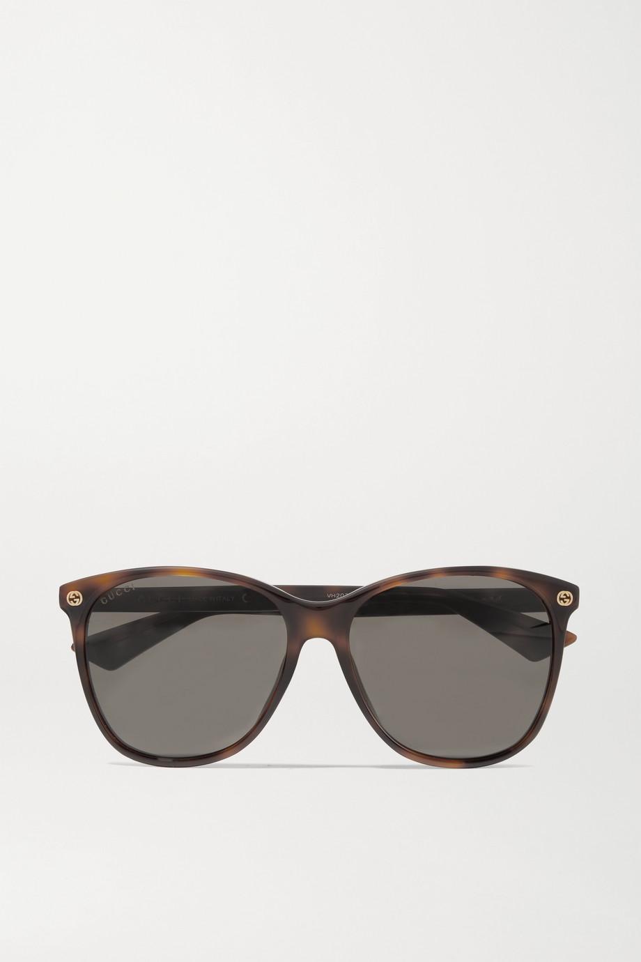 Gucci 玳瑁纹板材圆框太阳镜