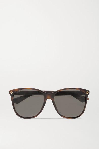 Round Frame Tortoiseshell Acetate Sunglasses by Gucci
