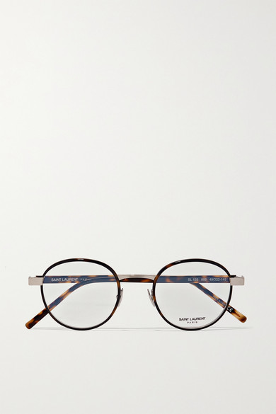 Saint Laurent Glasses Round-frame tortoiseshell acetate and silver-tone optical glasses