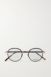Round-frame tortoiseshell acetate and silver-tone optical glasses