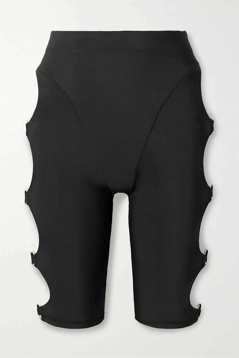 Adam Selman Sport Cutout embellished stretch shorts
