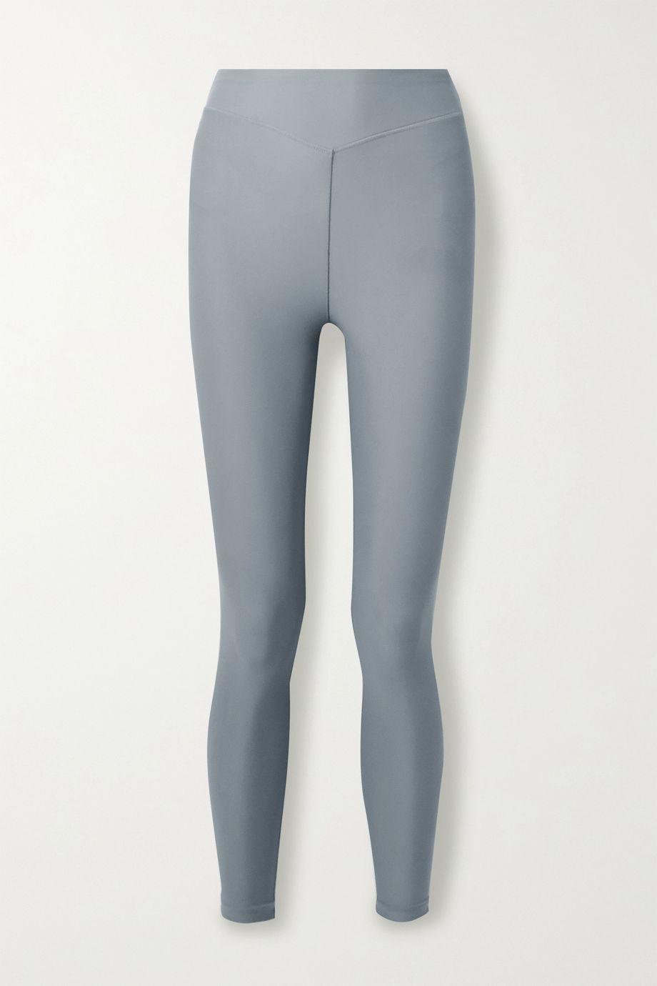 Adam Selman Sport Plunge striped stretch leggings