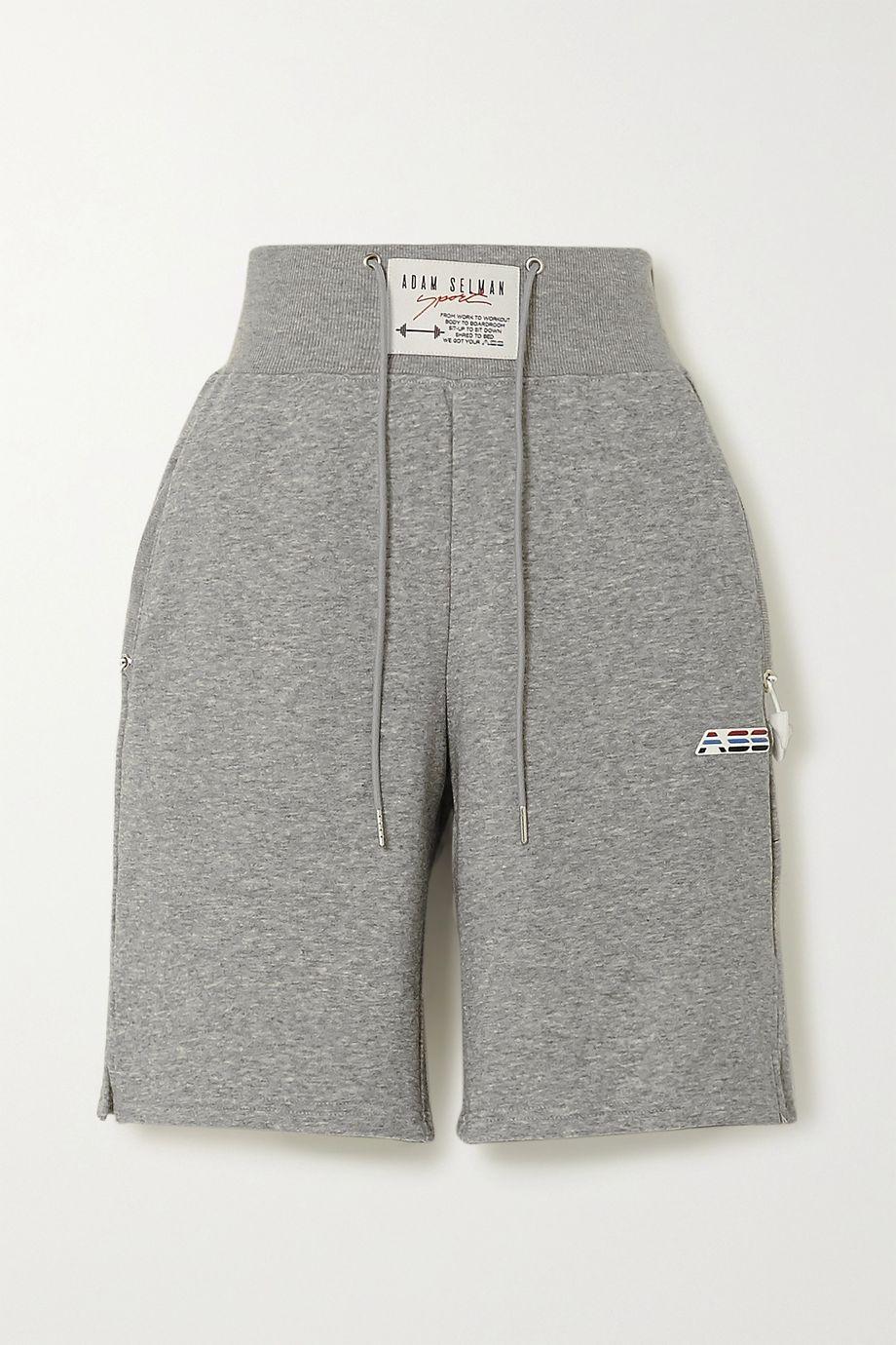 Adam Selman Sport Mélange cotton-blend jersey shorts