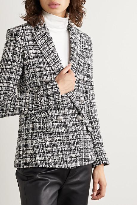 Kenzie double-breasted metallic cotton-blend tweed blazer