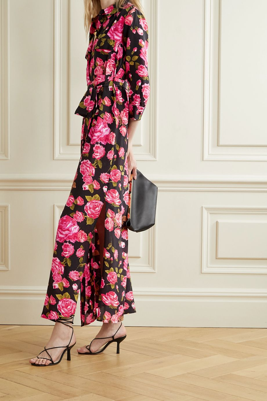 L'Agence Cameron belted floral-print silk crepe de chine maxi shirt dress