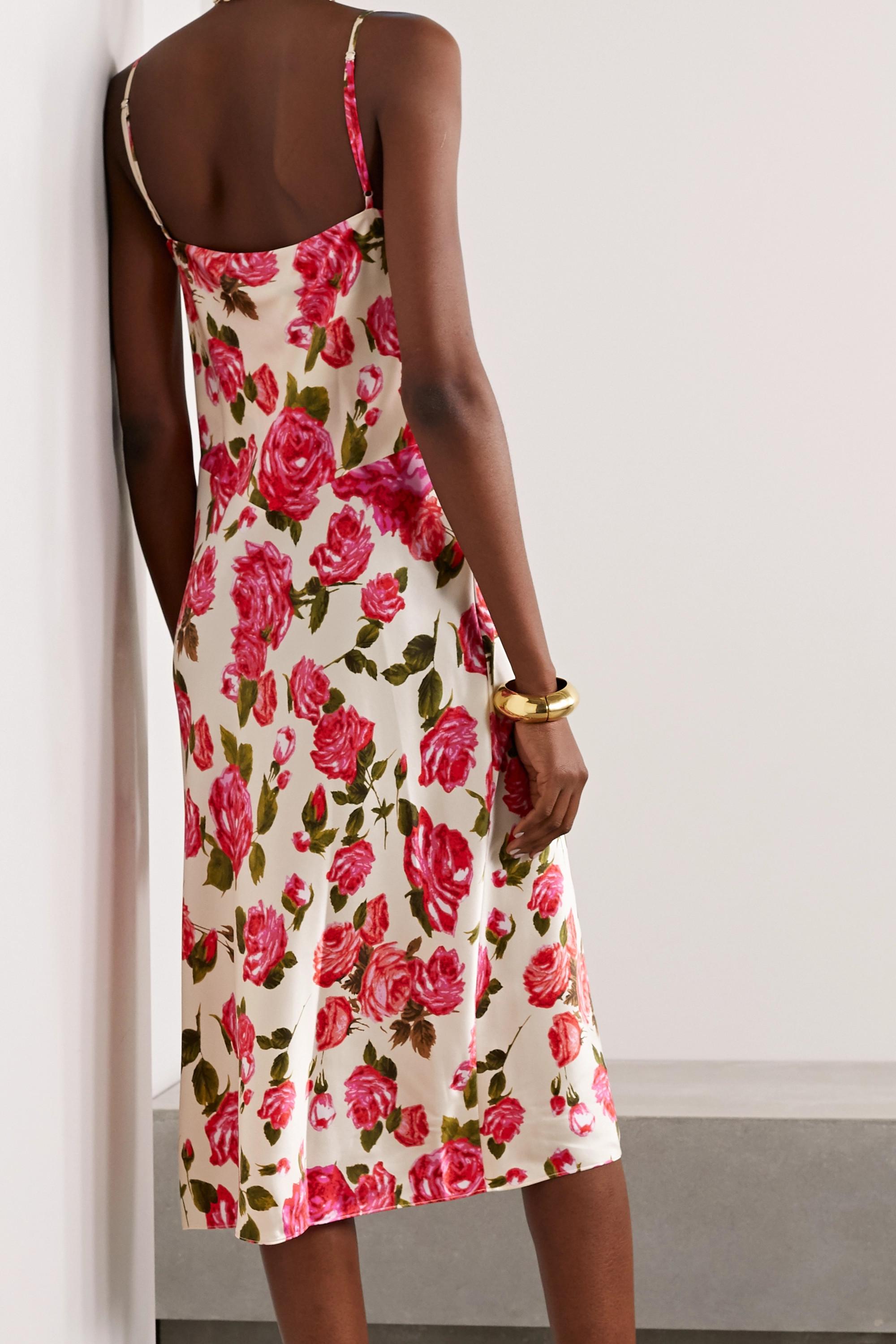 L'Agence Nyla draped floral-print silk-satin midi dress