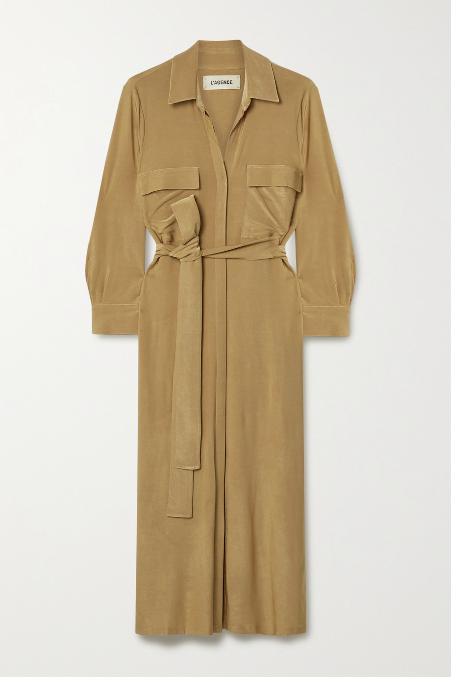 L'Agence Rivi Midi-Hemdblusenkleid aus Flammgarn-Jersey mit Stretch-Anteil und Bindegürtel