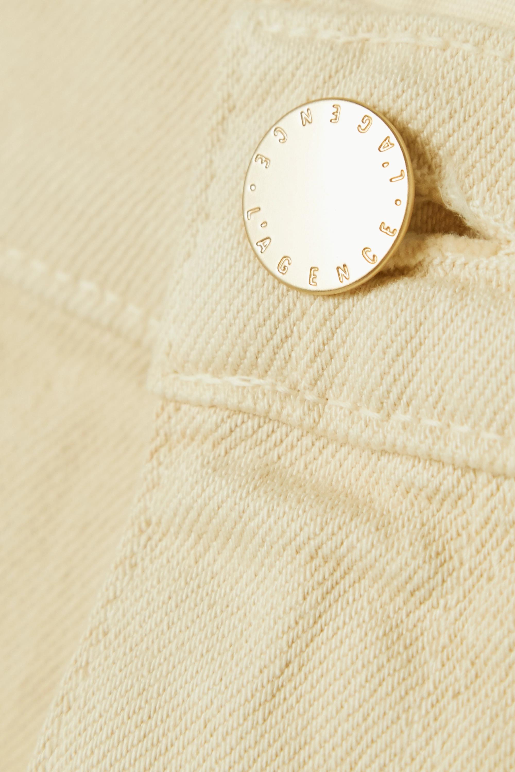 Beige Audrey Frayed Denim Shorts | L'agence