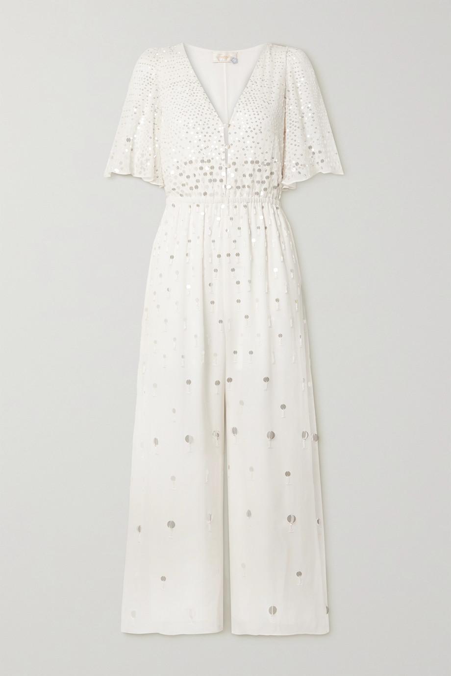 템퍼리 런던 시퀸 비즈 장식 점프수트 - 아이보리 (한혜연 착용) Temperley London Ruth embellished crepe de chine jumpsuit