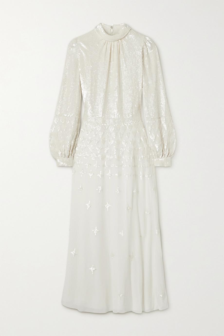 Temperley London Mirella sequin-embellished crepe de chine midi dress