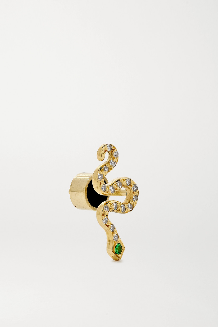 Ileana Makri Little Snake Ohrringe aus 18 Karat Gold mit Diamanten und Tsavoriten