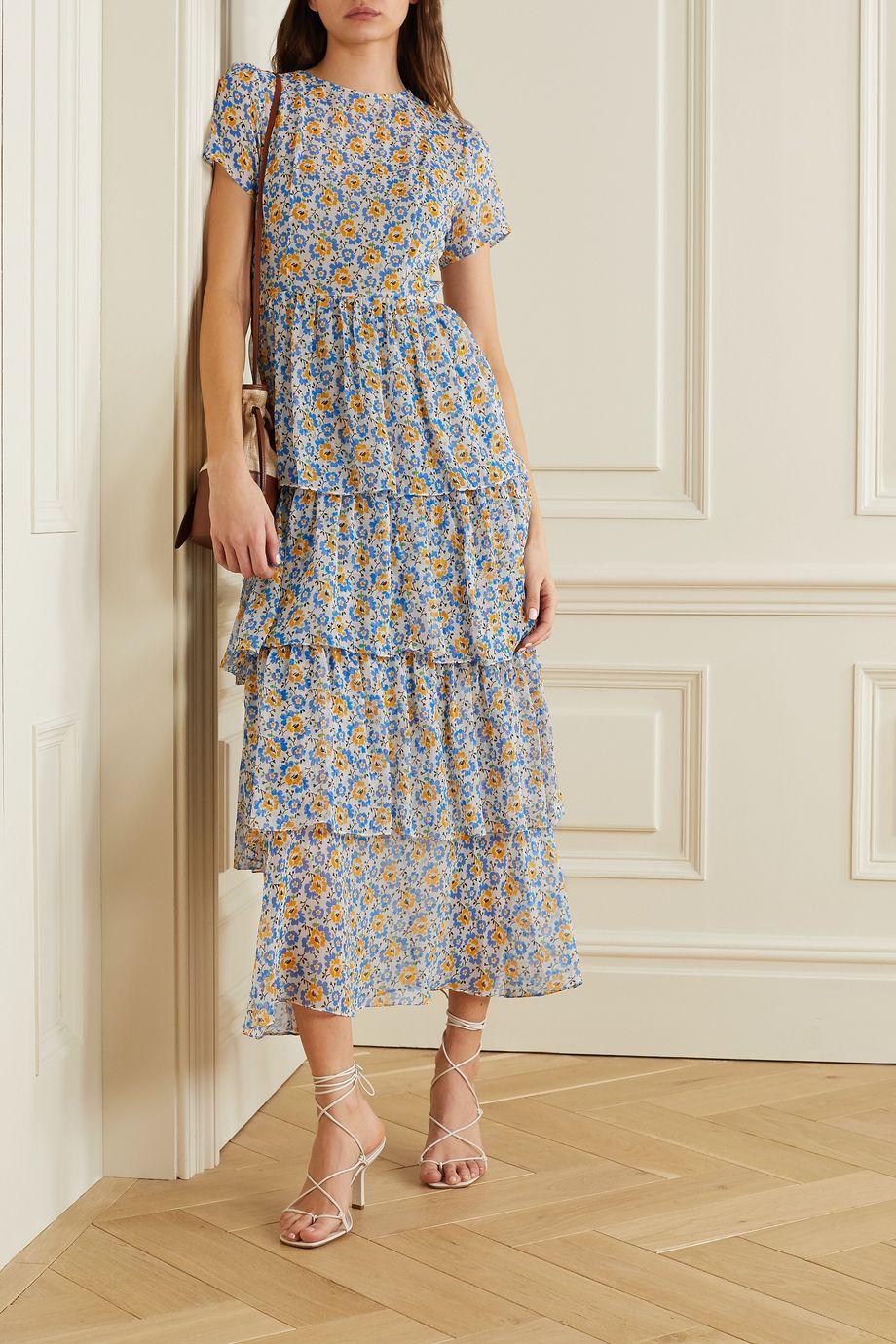 HVN Brynn tiered floral-print silk-chiffon maxi dress