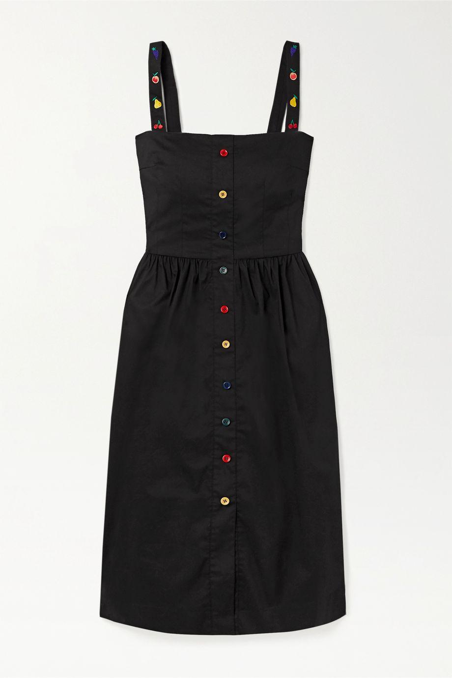 HVN Laura embroidered cotton-blend poplin midi dress