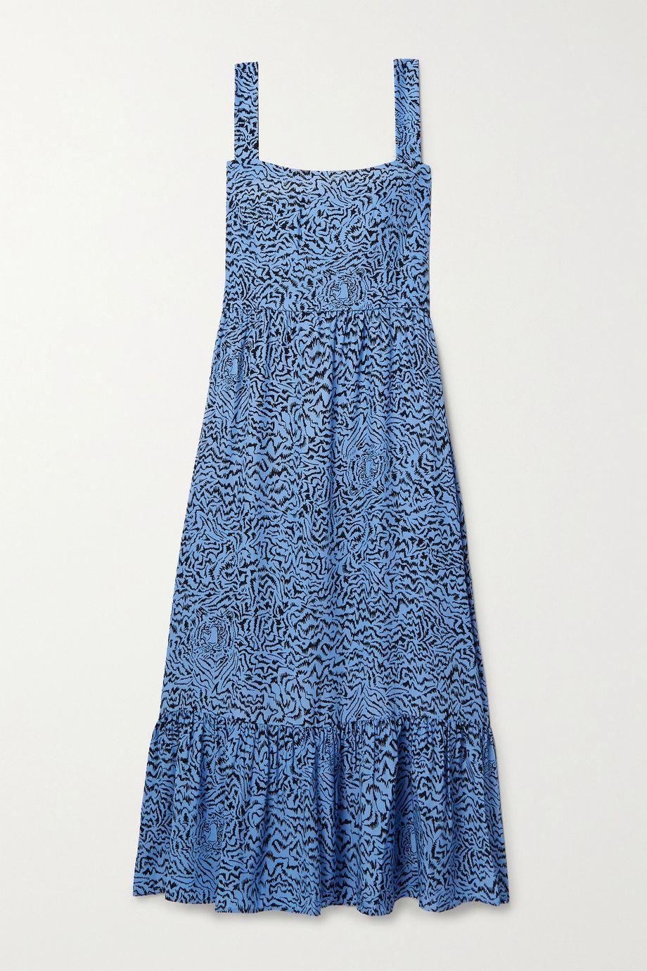 HVN Olympia tiered printed silk midi dress