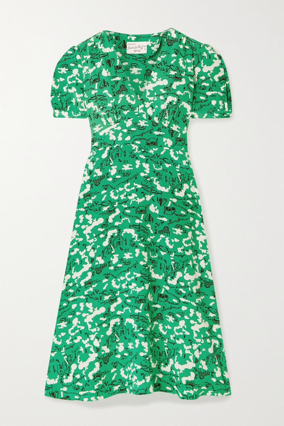 HVN Paula printed silk dress