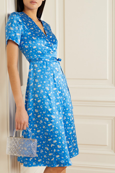 Rosemary belted printed silk-satin dress