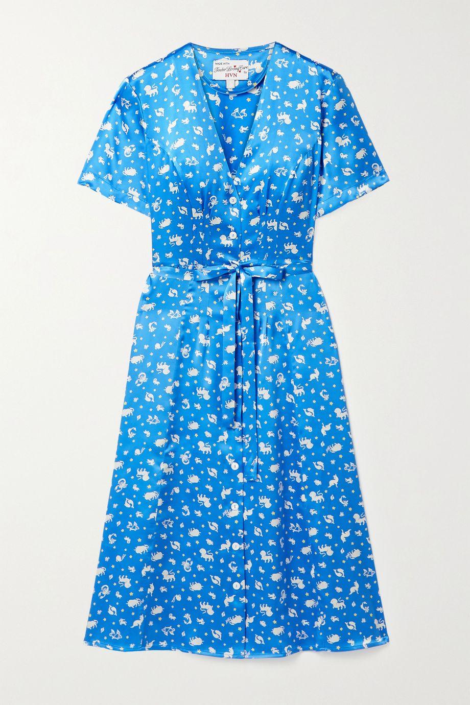 HVN Rosemary belted printed silk-satin dress
