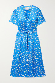 Rosemary belted printed silk-satin dress