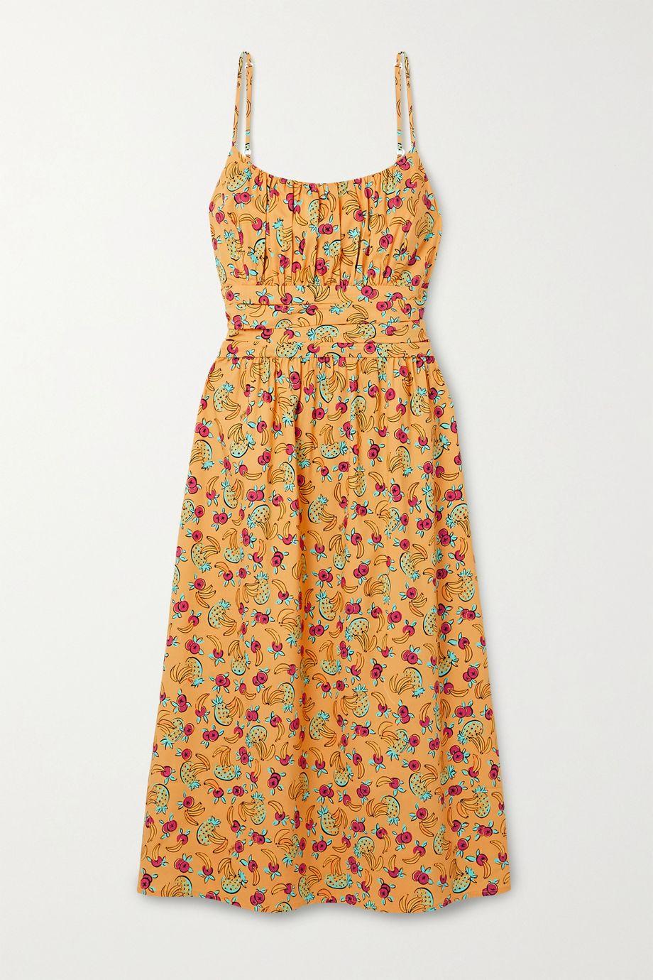 HVN Lucy gathered printed cotton-blend poplin midi dress