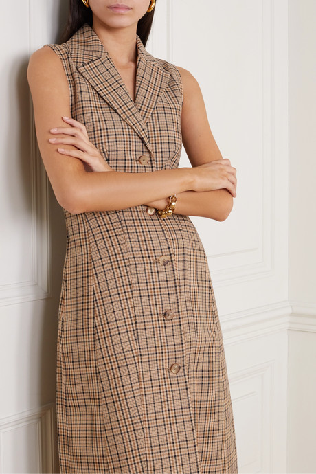 Checked woven midi dress