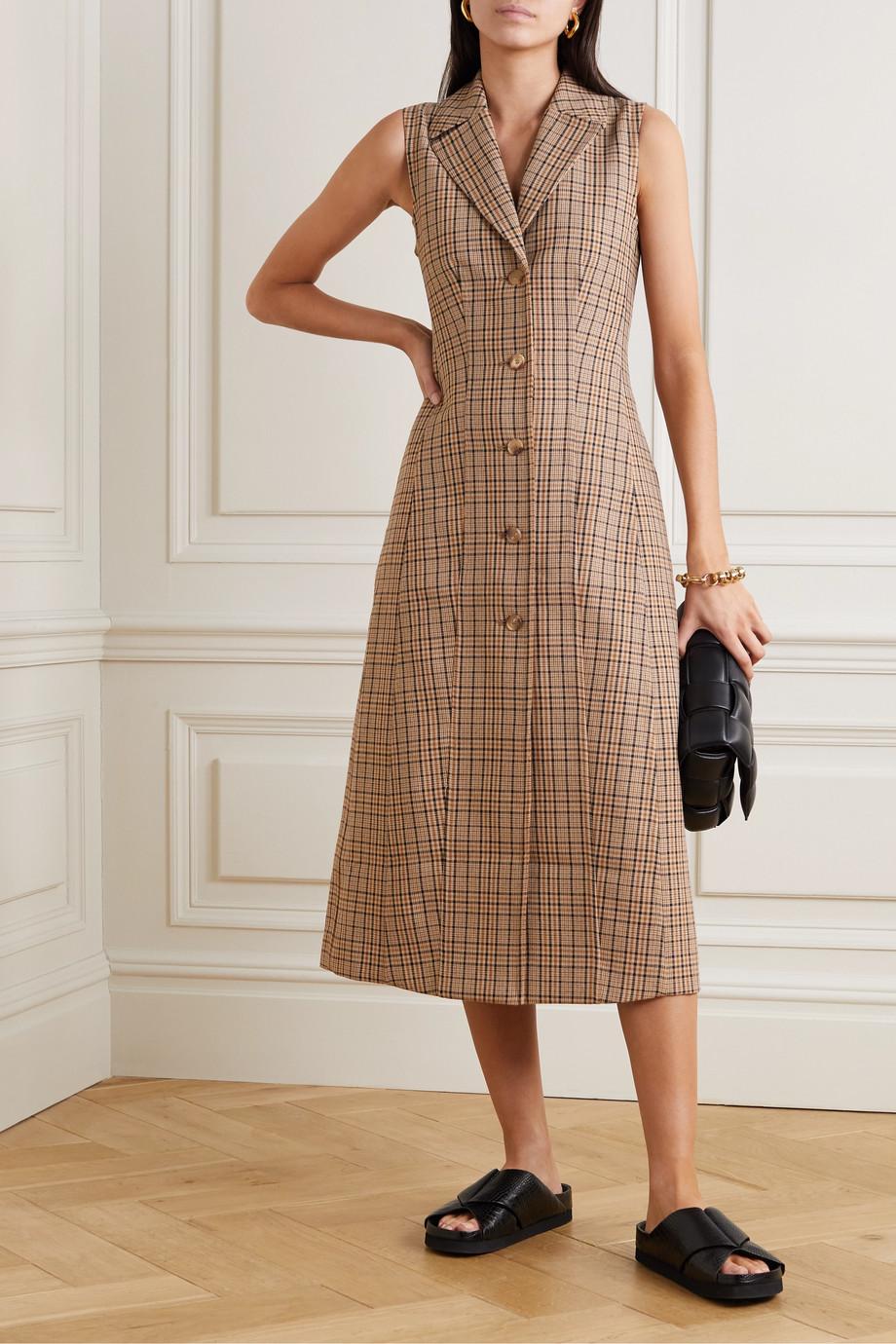 Co Checked woven midi dress