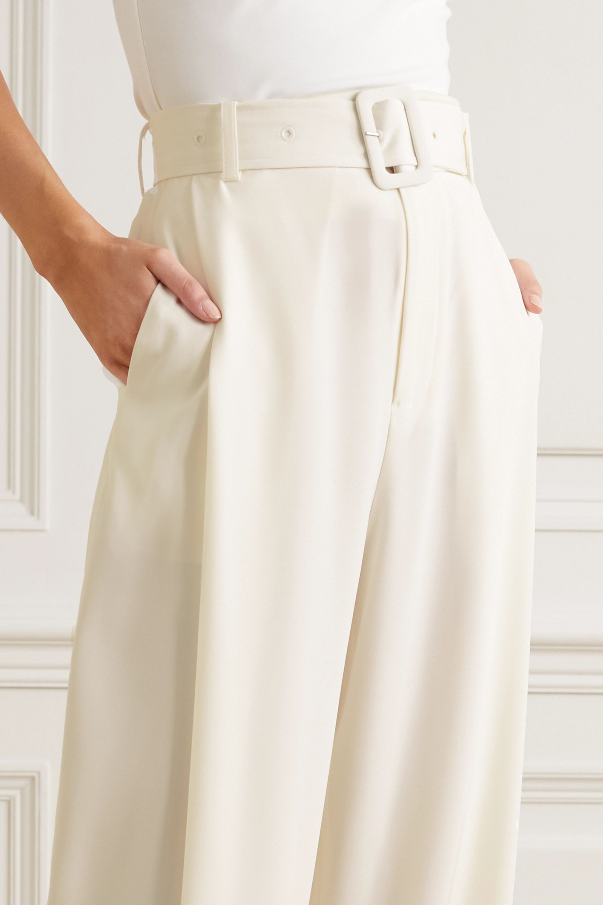 Co Belted satin-jersey wide-leg pants