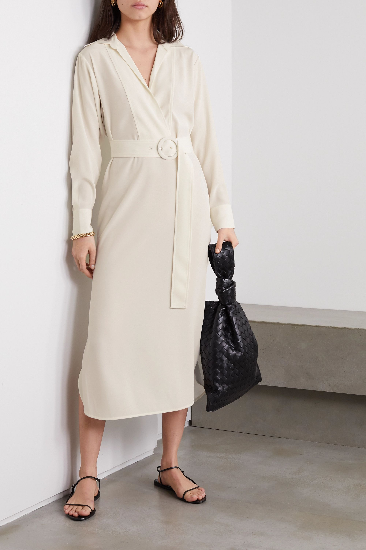 Co Belted wrap-effect satin-jersey midi shirt dress