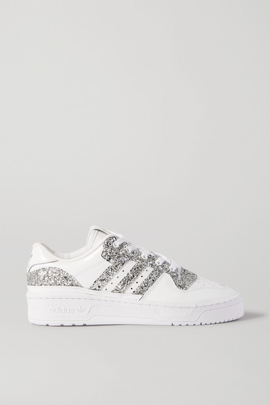 Rivalry Low Glittered Leather Sneakers by Adidas Originals