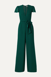 Reformation Anaya belted georgette jumpsuit