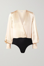 Reformation Beverly wrap-effect silk-satin and stretch-Tencel bodysuit