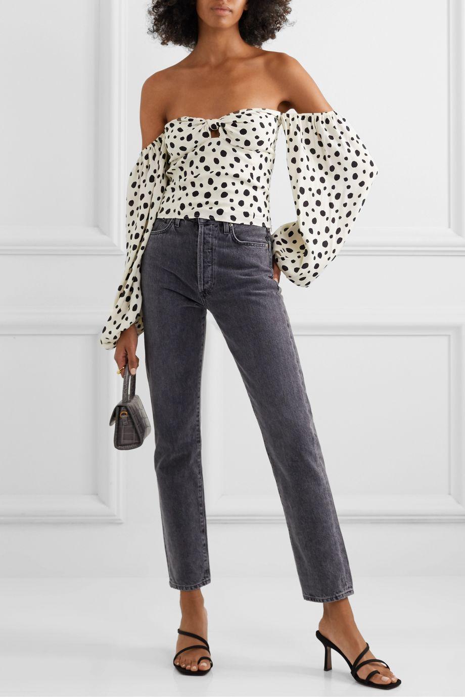 Reformation Simi off-the-shoulder shirred polka-dot crepe de chine blouse