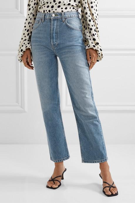 Cynthia cropped high-rise straight-leg jeans