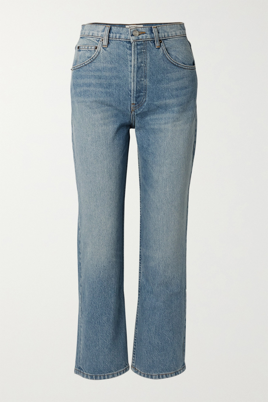 Reformation Cynthia cropped high-rise straight-leg jeans