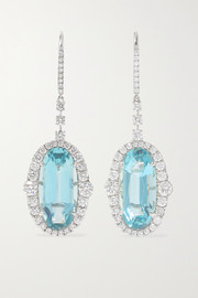 Martin Katz 18-karat white gold, aquamarine and diamond earrings