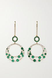 Martin Katz 18-karat gold, emerald and diamond earrings