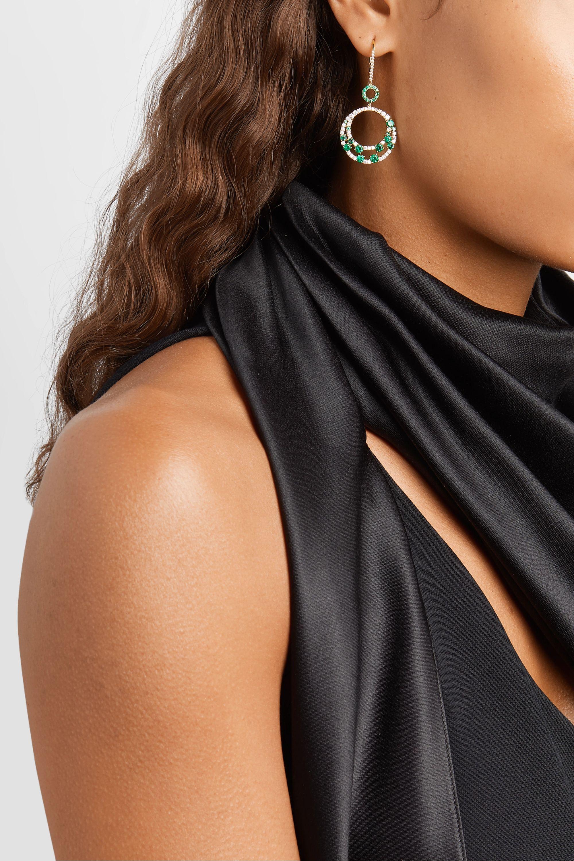 Martin Katz 18-karat gold, emerald and diamond earrings