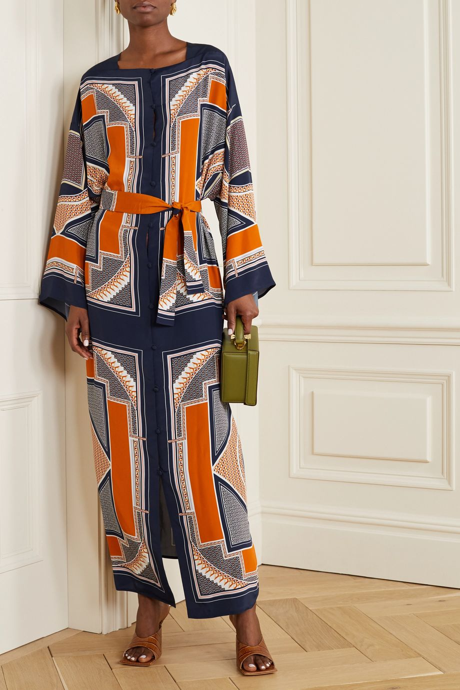 Rosetta Getty Belted printed crepe de chine maxi dress