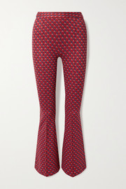 Stretch-jacquard flared pants