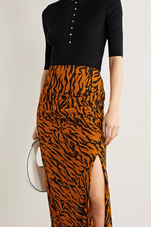 Diane von Furstenberg Edna gathered tiger-print stretch-jersey midi skirt