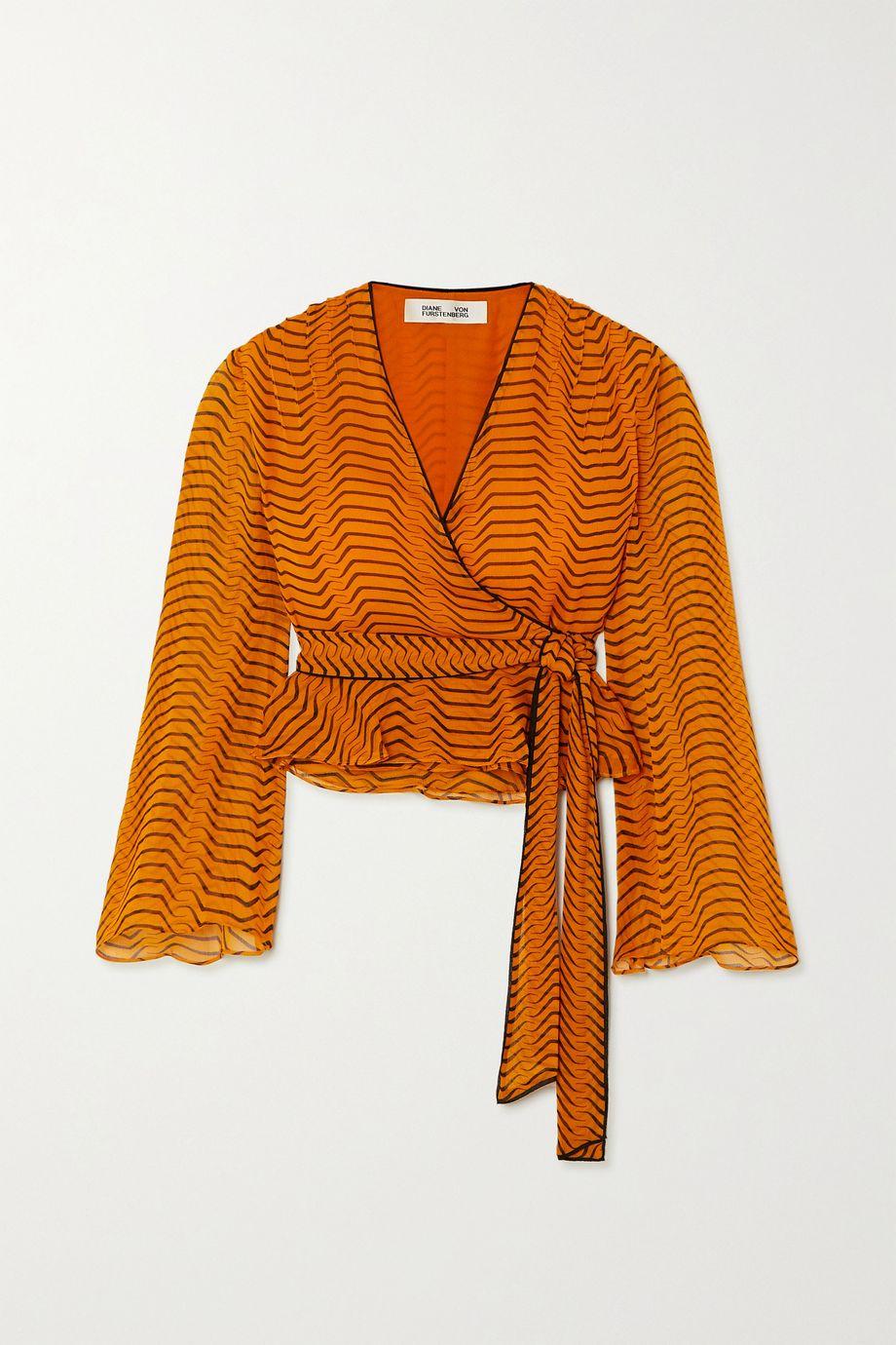 Diane von Furstenberg Julietta printed silk-chiffon wrap top