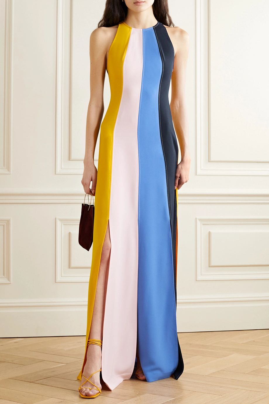 Lela Rose Striped crepe halterneck gown