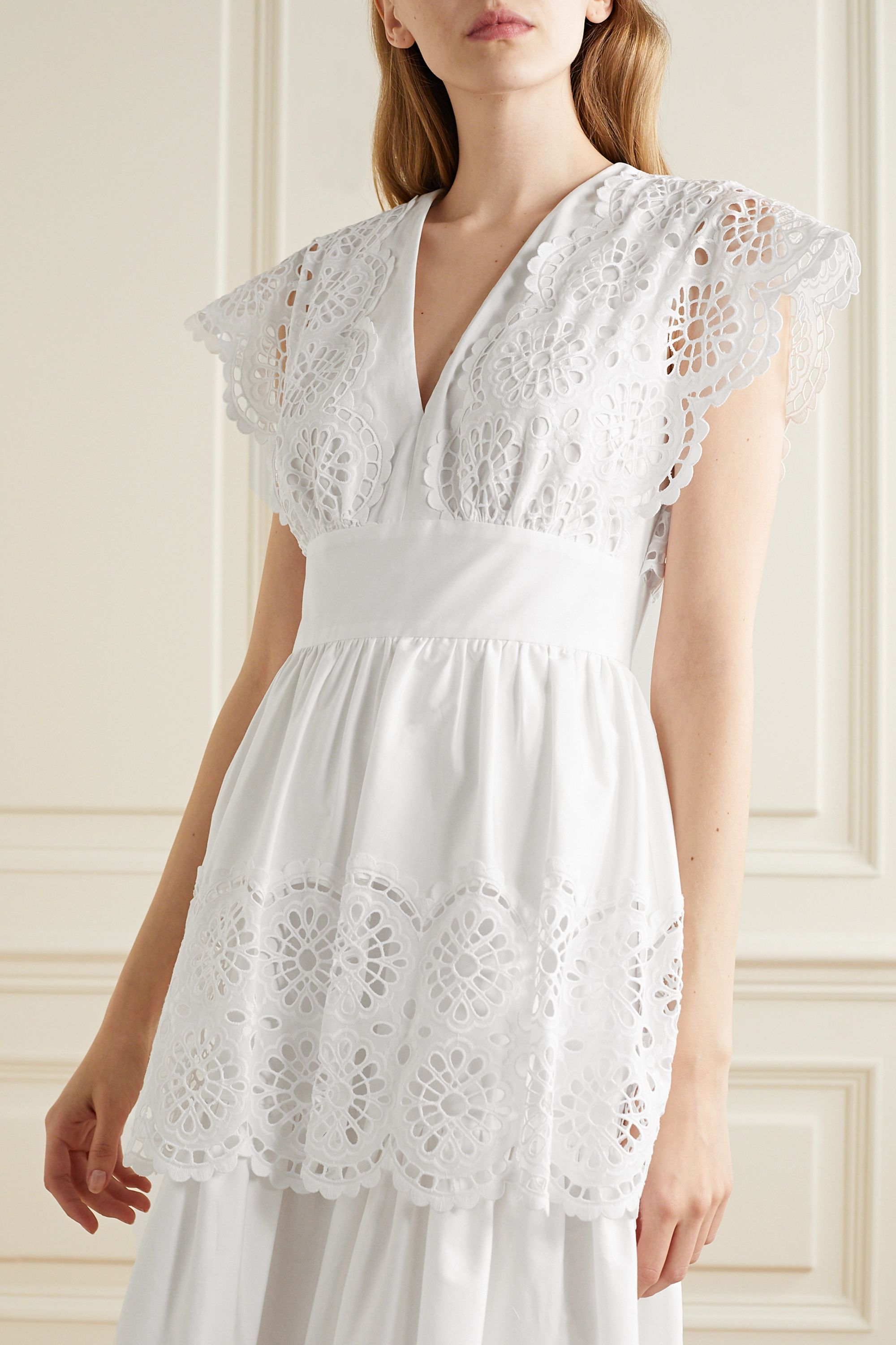 Lela Rose Tiered broderie anglaise cotton-blend poplin midi dress
