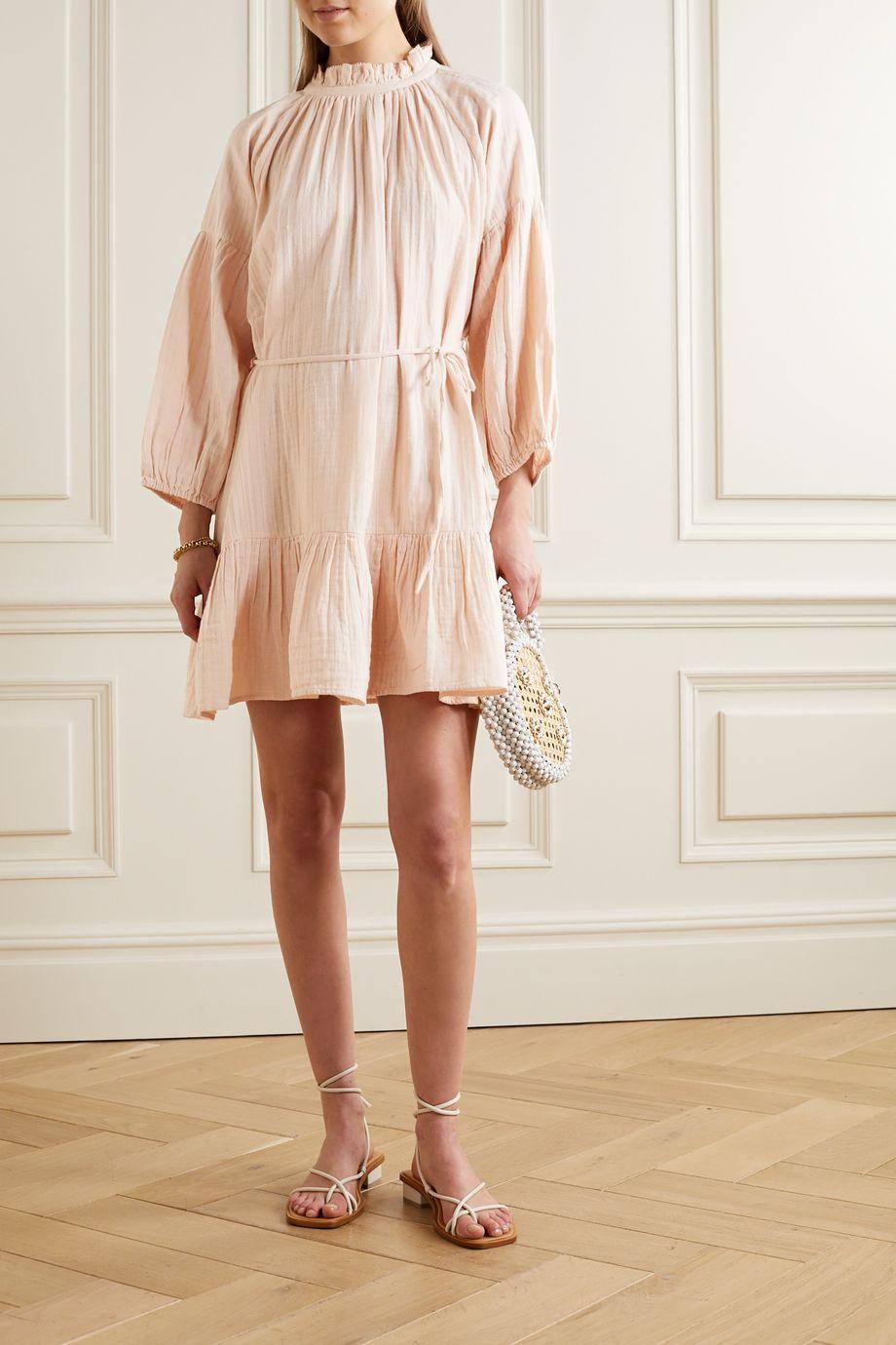 APIECE APART Victoria belted gathered ruffled cotton-gauze mini dress