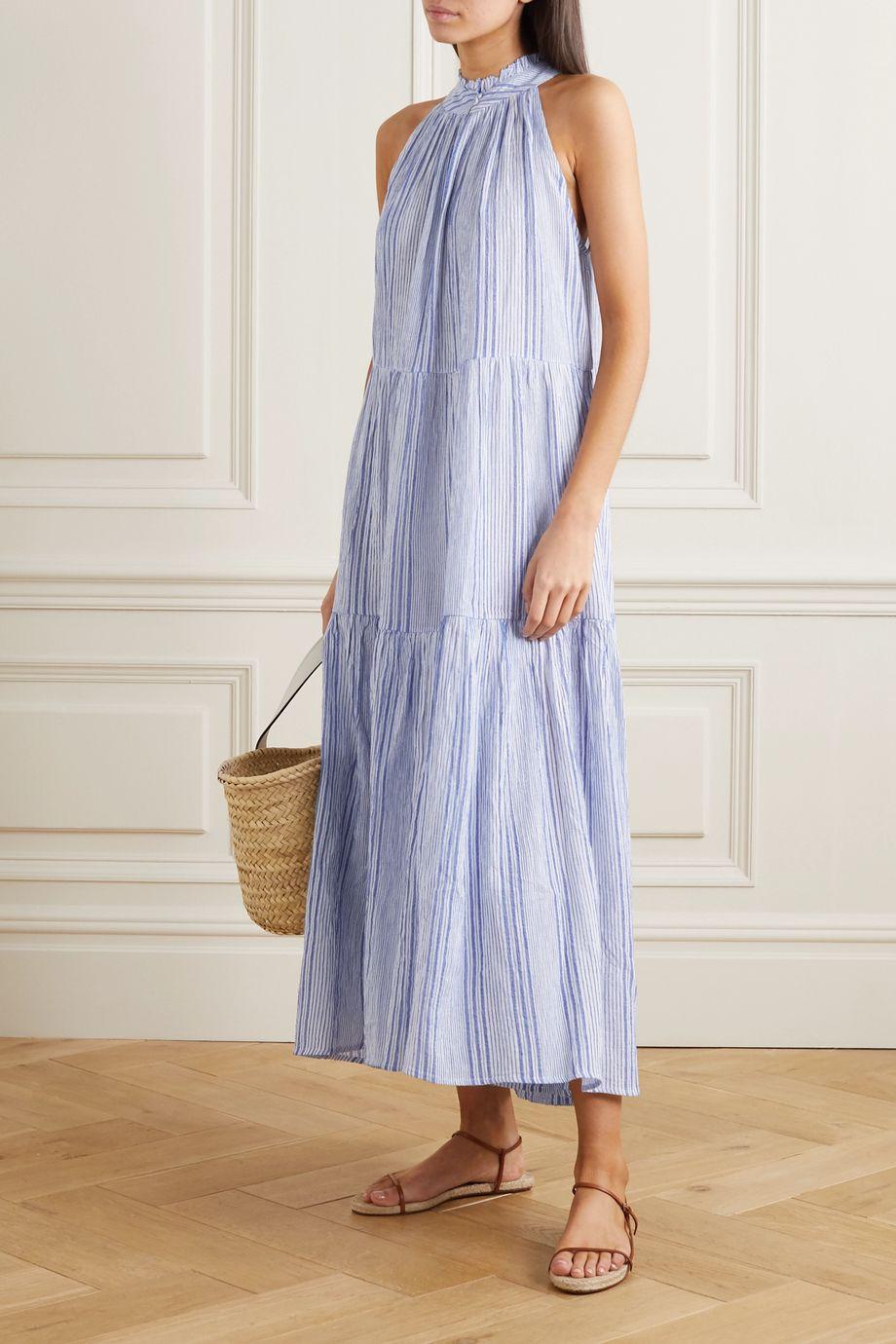 APIECE APART Nissi striped crinkled cotton-gauze maxi dress
