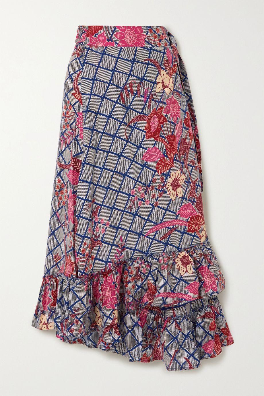APIECE APART Feliz ruffled floral-print silk-satin wrap midi skirt