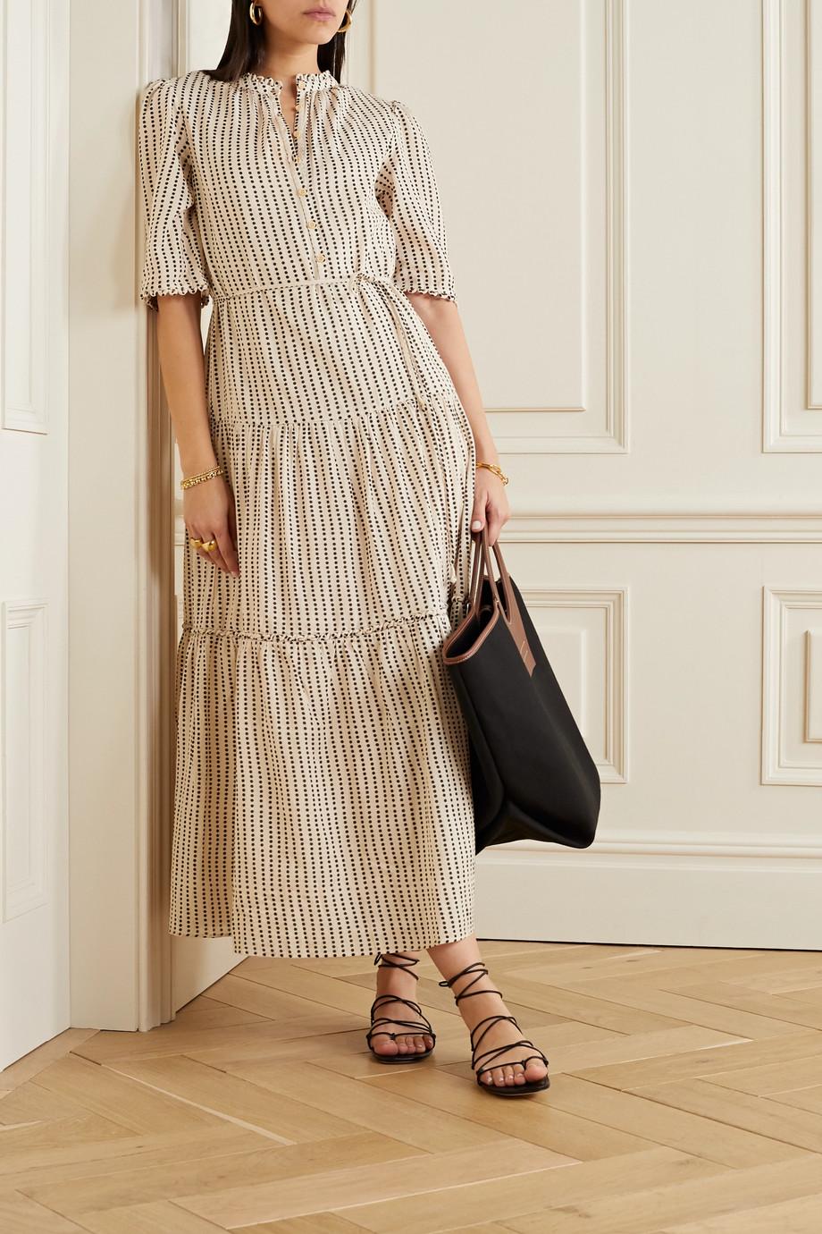 APIECE APART Alta tiered polka-dot organic cotton-twill maxi dress